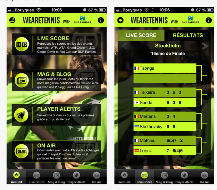"L'application mobile ""We are Tennis"" de la BNP, partenaire historique du tournoi Roland Garros."