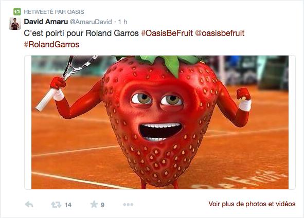 Un tweet de la marque Oasis au tournoi de Roland Garros