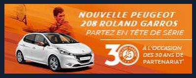 La marque Peugeot, sponsor de l'évènement sportif Roland Garros.
